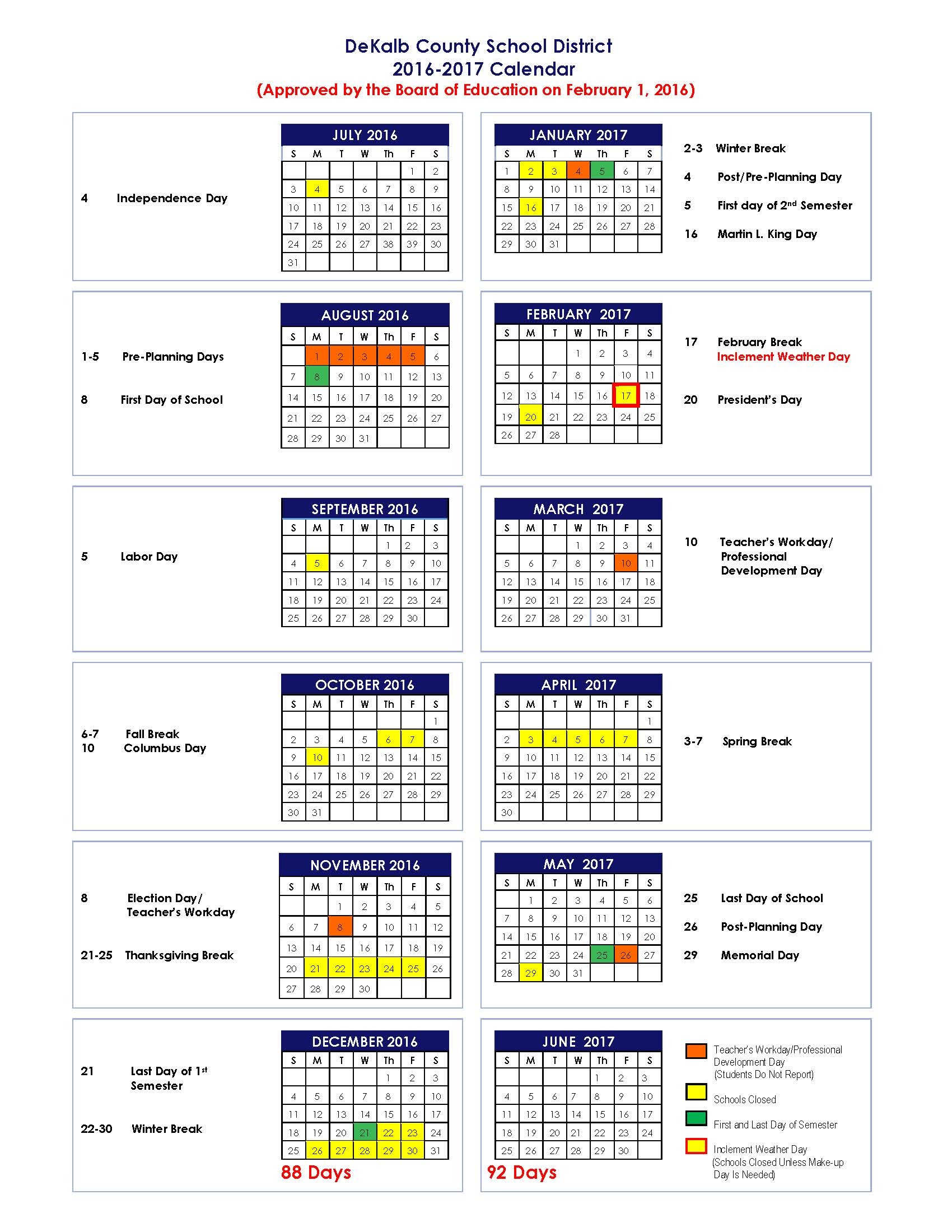 2016 2018 School Calendars for DeKalb   The Aha! Connection