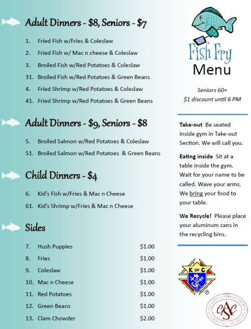 Knights Of Columbus Fish Fry Menu