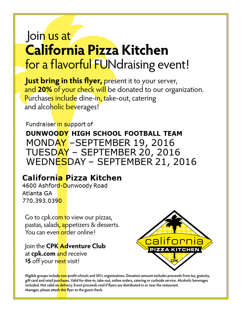 California Pizza Kitchen Spirit Night for Football (3 Nights) - The ...