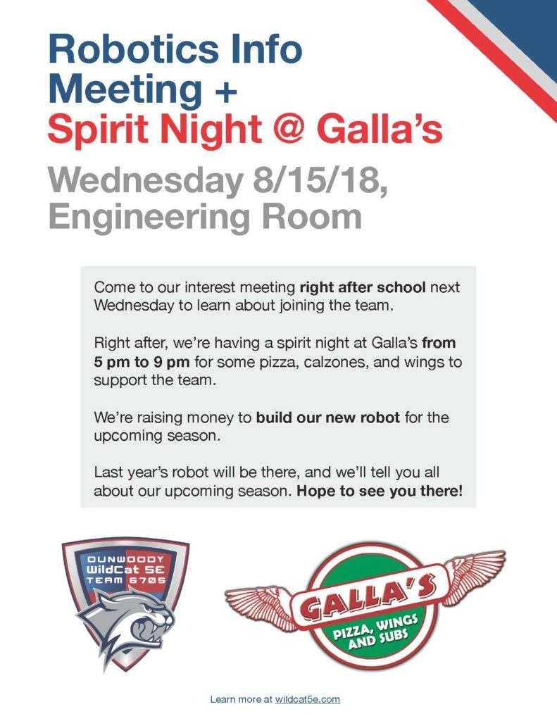 Robotics Info Meeting and Spirit Night at Galla's - The Aha! Connection