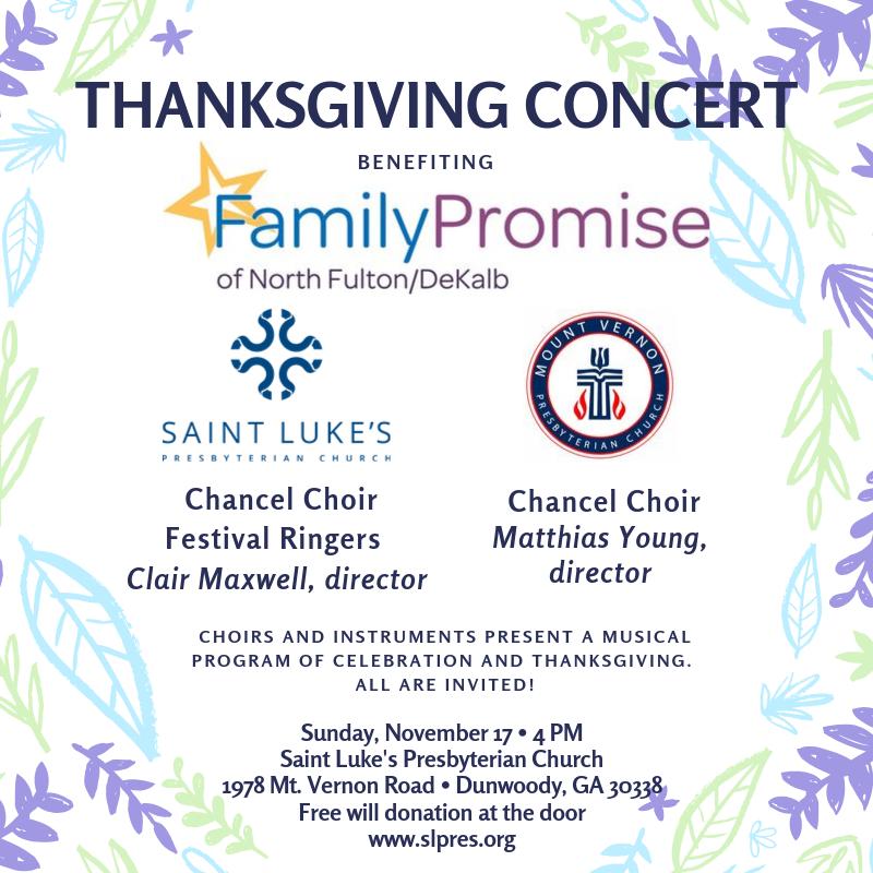 Nov. 17 Saint Luke's Thanksgiving Concert to Benefit Family Promise