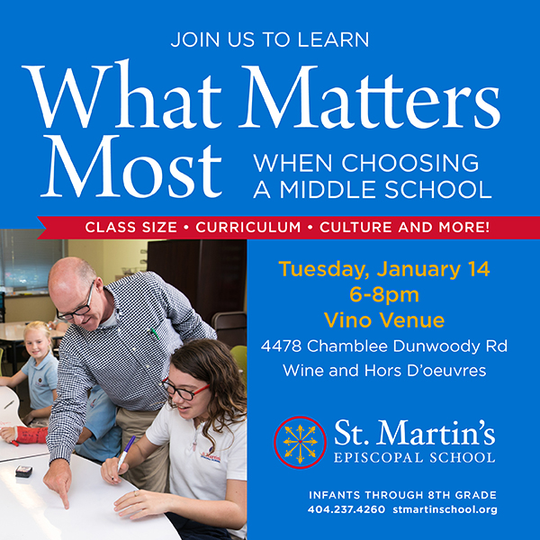 "Join St. Martin's on Tuesday, January 14 for ""What Matters Most When Choosing a Middle School"""