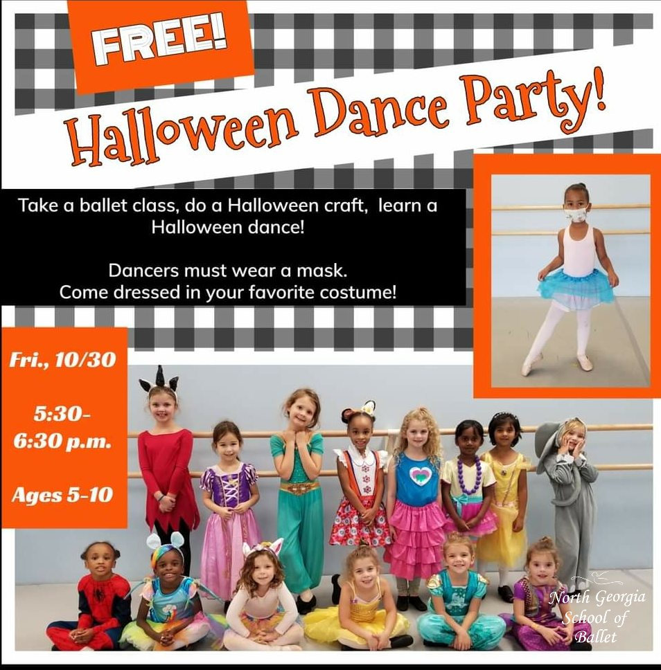 FREE Halloween Dance Party at North GA School of Ballet (ages 5-10)