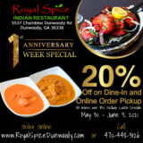Royal Spice Indian Restaurant - Anniversary Week Special!
